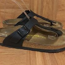 Boho Birkenstock Gizeh Sandals Thong T Strap Black Birko-Flor Sz 38 7 7.5 Photo