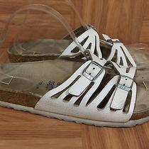 Boho Birkenstock Granada Sandals White Leather Double Strap Sz 38 7 7.5 Photo