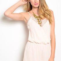 Boho Boutique Blush Pale Peach Lace Hippie Chic Summer Romper S  Photo