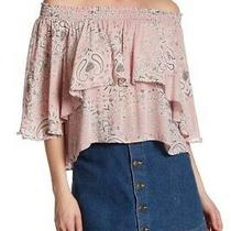 Boho Chic Blush Pink Paisley Off-Shoulder Layered Blouse Bymustard Seed Small Photo