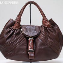 Boho Chic Fendi Spy Bag Hobo Chocolate Brown Leather Zucca Monogram Interior Photo