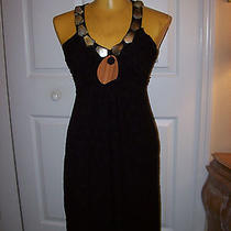Boho Chic Prairie Ny Black Mother of Pearl Disc/beaded Racerback Dress sz.xs Photo