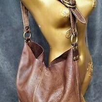 Boho Lucky Brand Large Hobo Tote Bucket Bag Brown Leather Purse  Wallet Photo