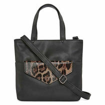Bold Elements Andi Mid Tote Purse W Removable Leopard Print Side Pouch New Photo