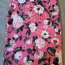 Bold Elements M Elastic Waist Pencil Skirt Flat Front Pink Floral Photo
