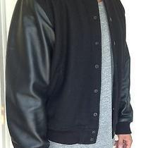 Bomber Jacket American Apparel Wool With Leather Sleeves Balmain Kanye  Photo