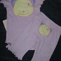 Bon Bebe Girls 3pc Set Lavender Pants Onsie Bib Kitty Size 0-3 Months Nwt Photo