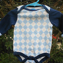Bon Bebe One-Piece Size 3-6 Months Blue Argyle - High End French Clothing Photo