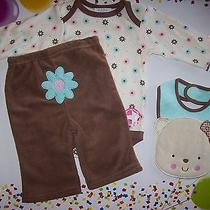 Bon Bebe Outfit 3pc Set  Bodysuit/bib/pants Bear Design Sz 3-6  Mos Medium  Nwt Photo