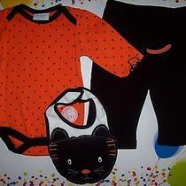 Bon Bebe Outfit 3pc Set  Bodysuit/bib/pants Halloween Cat Sz 6-9  Mos Large  Nwt Photo