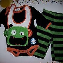 Bon Bebe Outfit 3pc Set Bodysuit/bib/pants Halloween Monster 0-3 Mos Small Nwt Photo