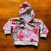 Bonds Street Digi Sweats Pink Green Rose Floral Bloom Hoodie Jacket Euc Size 0 Photo