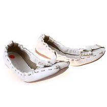 Bone Miu Miu Leather Ballet Flats Bow Stitch Authentic Designer Eu 38.5 Us 8.5 Photo