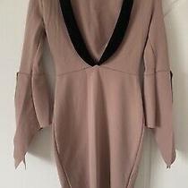 Boohoo Blush Pink Black Bodycon Dress Sz 6 Photo