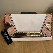 Boohoo Clutch Bag Rose Gold Pink White  Photo