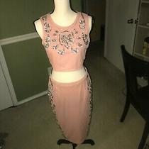 Boohoo Heavy Embellished Bodycon Co-Ordinate Set in Blush Size 6 Worn Once  Photo