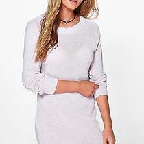 Boohoo Lara Twisted Marl Knit Jumper Dress in Blush Size M Photo