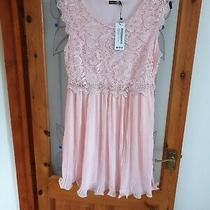 Boohoo Night Dress Size 16 Boutique Corded Lace Pleated Skater Dress Blush  Photo