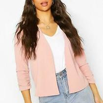 Boohoo Sexy Smart Pretty Boho Ruched Sleeve Blazer Jacket Blush Pink Uk 6 Eu 34 Photo