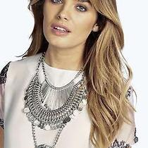 Boohoos Womens Freya Statement Coin Tribal Necklace in Silver Size One Size Photo