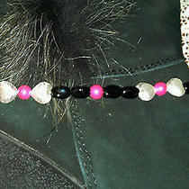 Boot Jewelry Anklet Hot Pink Glass Pearls Tibetan Silver Puffy Hearts Fits Ugg 9 Photo