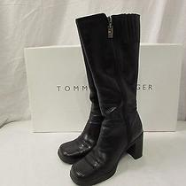 Boots - Tommy Hilfiger Leather Zippered Knee High Boots Size 6.5m W32153 Photo