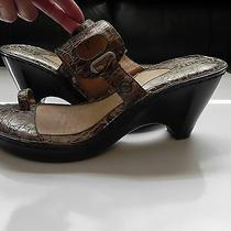 Bornbrown Croc Leather Wedge Heels Thong Sandals Sz 9m Photo