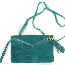 Borse in Pelle Purse Suede Leather Croc Texture Teal Blue Crossbody Clutch Wrist Photo