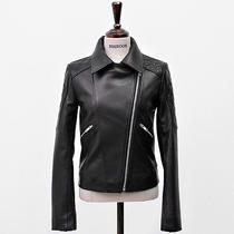 Bosroom Nwt Women's Lamb Skin Diamond Stitch Patterned Bike Black Jacket Xs Photo