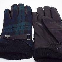 Boss Hugo Boss Black Leather and  Plaid Fabric Gloves Sz 9 Photo