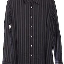 Boss Hugo Boss Black Striped Button Down Shirt Top Photo
