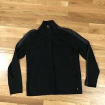 Boss Hugo Boss Men's 1/4 Zip Knit Sweater Jacket Fine Cotton Black Knit Size Xl Photo