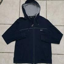 Boss Hugo Boss Mens M Full Zip Sweater Hoodie Navy Blue Hobo Chic Photo