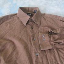 Boss Hugo Boss Sz 16.5-34/5 Brown & Black Woven Long Sleeve Men's Shirt Photo