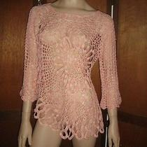 Boston Proper Blush/pink Daring Crochet Sweater Uneven Hem Size Large Photo