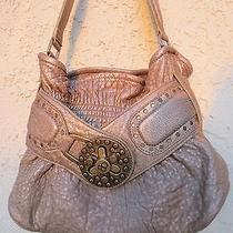 Botkier Beige & Crinkled Metallic Gold Leather Purse With Metal Studs  Photo