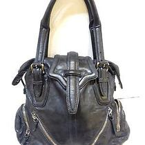 Botkier Black Leather Hobo Handbag W/zipper Detail  Photo
