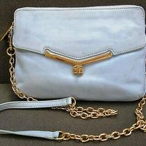 Botkier Blue Leather Cross Body Clutch Bag Handbag Goldish Hardware Chain  Photo