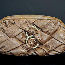 Botkier Bronze Quilted Textured Leather Clutch W/hammered Gold Ring Decor Photo