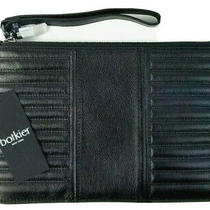 Botkier Clutch Large Leather Moto Top Zip Handbag (Black) Photo