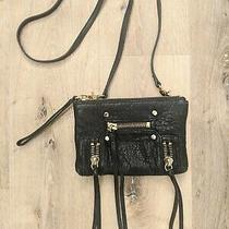 Botkier Logan Black Leather Wristlet Crossbody Bag Gold Accent Photo
