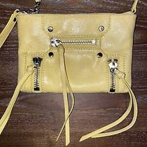 Botkier New York Retro Leather Crossbody Purse Zippers Yellow Photo