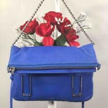 Botkier Royal Blue Pebbled Leather Foldover Crossbody/ Clutch / Shoulder Bag Photo