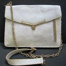 Botkier White Lace Leather Cross Body Clutch Bag Handbag Goldish Hardware Chain  Photo