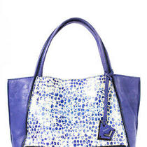 Botkier Womens Leather Animal Print Tote Shoulder Handbag Purple Blue Photo