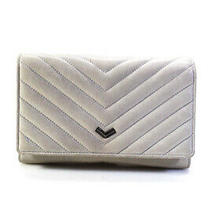 Botkier Womens Leather Quilted Silver Chain Clutch Crossbody White Size Small Photo