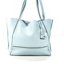 Botkier Womens Pebble Grain Leather Zipper Trim Light Blue Large Tote Handbag Photo