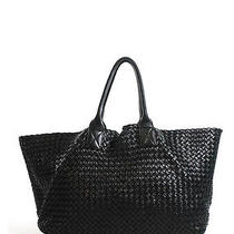 Bottega Veneta Black Intreciato Leather Cabat Tote Handbagevhb Photo