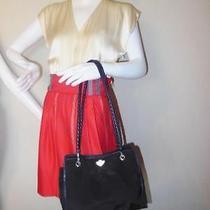 Bottega Veneta Black Nylon Navy Leather Braided Shoulder Straps Tote Bag Photo