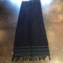 Bottega Veneta Blue Cotton Cashmere Silk Leather Woven Scarf Photo